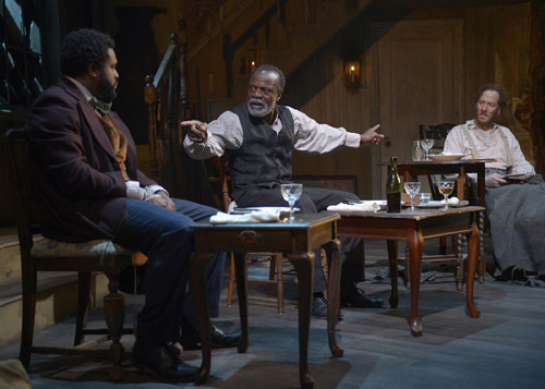 Tobie Windham, L. Peter Callender and Nicholas Pelczar in The Whipping Man at Marin Theatre Company. Photo by Kevin Berne.