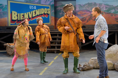 Dena Martinez as Sacajawea, Sharon Lockwood as William Clark, Dan Hiatt as Meriwether Lewis, and Sean San José as Juan José in Cal Shakes' American Night: The Ballad of Juan José. Photo by Kevin Berne.