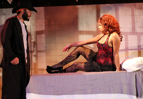Wiley Naman Strasser and Felicia Benefield in Krispy Kritters in the Scarlett Night. Photo by Rob Melrose.