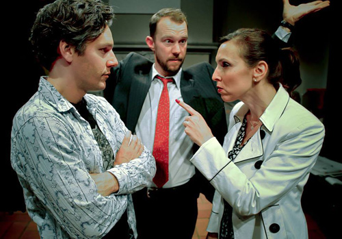 Tim Redmond, Brian Trybom and Deb Fink in Pitch Perfect. Photo by Jim Norrena.