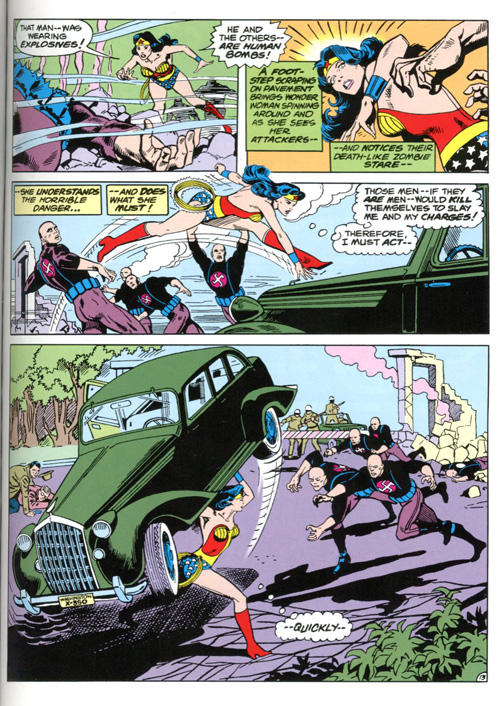 The green car is a nice little nod to the first Action Comics cover introducing Superman.