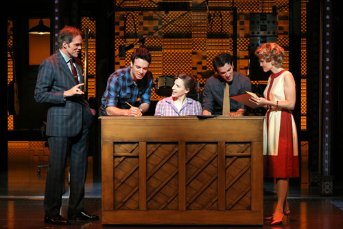 Jeb Brown, Jake Epstein, Jessie Mueller, Jarrod Spector, and Anika Larsen in Beautiful—The Carole King Musical. Photo by Joan Marcus.