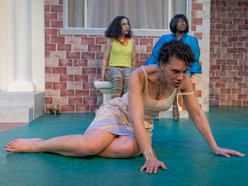 Leontyne Mbele-Mbong with Danielle Doyle and Shani Harris-Bagwell in Medea, Photo by Lance Huntley.
