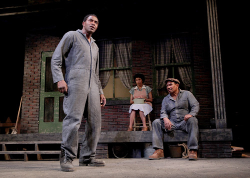 Carl Lumbly, Margo Hall and Steven Anthony Jones in Fences. Photo by Ed Smith.