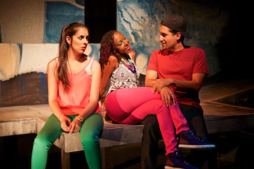 Karina Gutierrez, Britney Frazier, and Juan Amador in Daylighting: The Berkeley Stories Project. Photo by Pak Han.