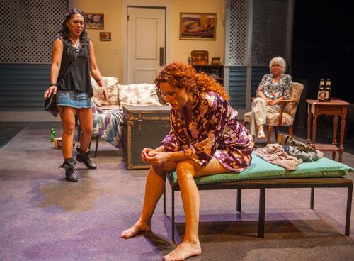 Nicole Javier, Marilee Talkington and Lillian Bogovich in Aurora Theatre Company's Rapture, Blister, Burn. Photo by David Allen.