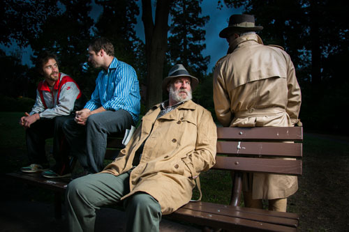 Harold Pierce, Seton Brown, Julian López-Morillas and David Sinaiko in Just Theater's In from the Cold. Photo by Cheshire Isaacs.