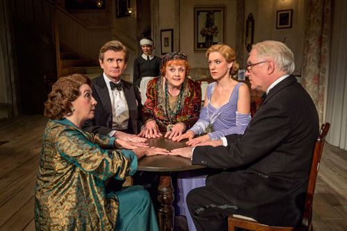 Sandra Shipley, Charles Edwards, Susan Louise O'Connor, Angela Lansbury, Charlotte Parry and Simon Jones in Blithe Spirit. Photo by Joan Marcus.