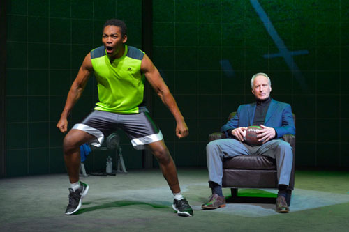 Eddie Ray Jackson and Bill Geisslinger in X's and O's (A Football Love Story) at Berkeley Rep. Photo courtesy of kevinberne.com.