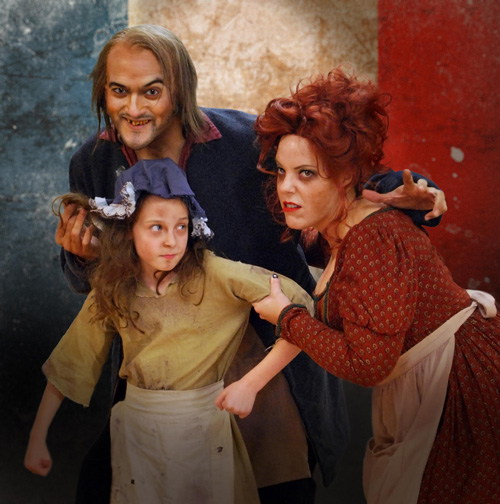 DC Scarpelli, Jennifer Stark and Emily Joy Kessel in Les Misérables. Photo by Robert Sholty.