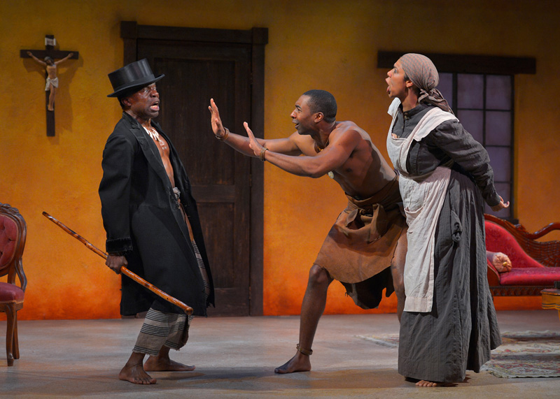 L. Peter Callender, JaBen Early and Elizabeth Carter  in Marin Theatre Company's The Convert. Photo by Kevin Berne.