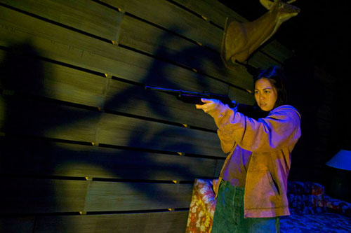 Nicole Javier in  Crowded Fire Theater's Edith Can Shoot Things and Hit Them. Photo by Pak Han.
