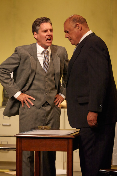 Tim Redmond as John Williamson and Michael Torres as George Aaronow in TheatreFIRST's Glengarry Glen Ross.
