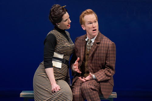 Claire Warden (Dolly) and Dan Donohue (Francis Henshall) in One Man, Two Guvnors at Berkeley Rep. Photo by mellopix.com.