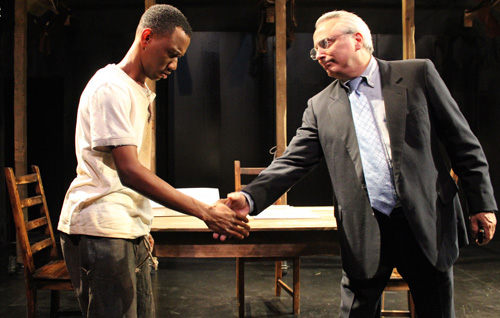 Frederick Douglass (Giovanni Adams) meets Donald Rumsfeld (David Sinaiko) in Cutting Ball Theater's world premiere of Mount Misery: A Comedy of Enhanced Interrogations. Photo by Chase Ramsey.