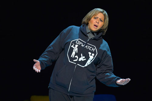 Anna Deavere Smith as Kevin Moore, videographer of the Freddie Gray beating, in Notes from the Field: Doing Time in Education, The California Chapter. Photo courtesy of kevinberne.com.