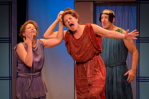 Delia MacDougall as Hermia, Stacy Ross as Helena, and Dodds Delzell as Snug in Demetrius Unbound. Photo by mellopix.com.