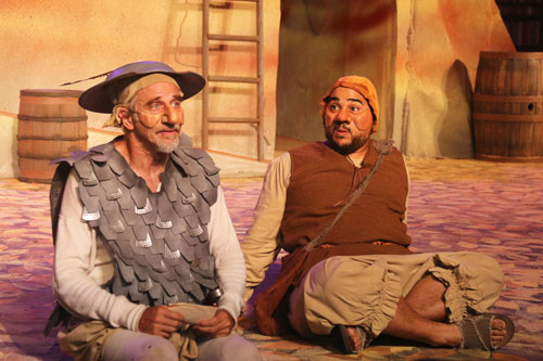 Ron Campbell as Don Quixote and John R. Lewis as Sancho Panza in Marin Shakespeare Company's Don Quixote. Photo by Lori A. Cheung.