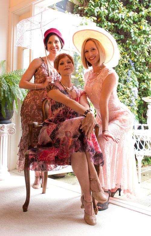 Joy Sherratt, Rachel Powers, Amy Franklin Leonards star in Enchanted April. Bijou the dog does not. Photo by Antonio Gonzalez.