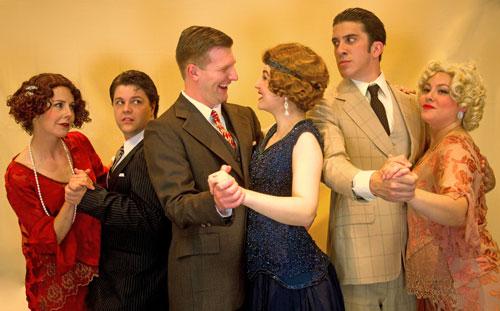 Samantha Behr, Dallas Carter, Adam Niemann, Stephanie Neuerburg, Kyle Goldman and Tiffanie Moore in Role Players Ensemble's The Great Gatsby. Photo by John Carter.