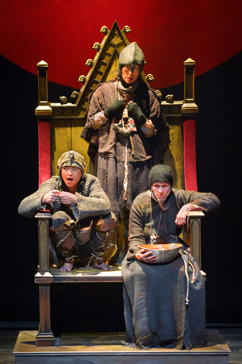 Frances McDormand, Mia Tagano, and Rami Margron as the witches in Macbeth at Berkeley Rep. Photo courtesy of kevinberne.com.
