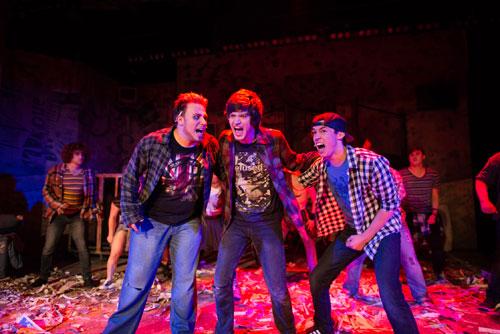 Jeff Holmes, Sage Georgevitch-Castellanos and Kamren Mahaney in Contra Costa Civic Theatre's American Idiot. Photo by Ben Krantz.