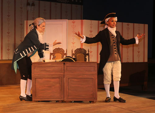 Katie Rubin and Tristan Cunningham as James Madison and George Washington in Marin Shakespeare Company's The Taming. Photo copyright Lori A. Cheung.