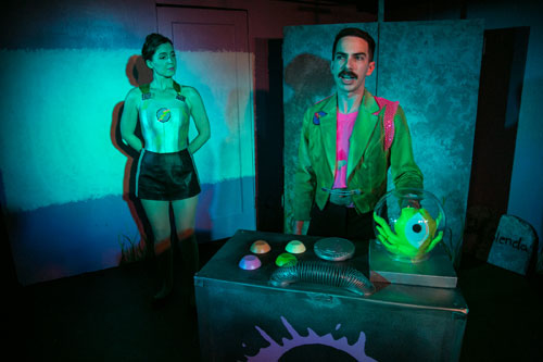 Maro Guevara, John Terrell, and Dana Blasingame in Impact Theatre's Splathouse: Plan 9 from Outer Space. Photo by Cheshire Isaacs.