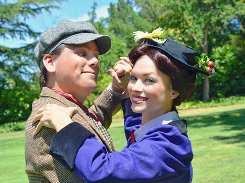 Robert Lopez and Rachel Powers in Tri-Valley Rep's Mary Poppins. Photo by Robert Sholty and DC Scarpelli.