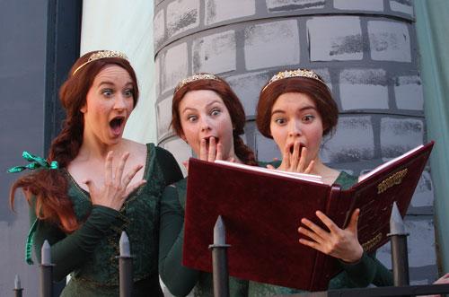 Claire Buchignani, Katie Elman, and Claire Lentz as Princess Fiona in Shrek. Photo by Kathy Kahn.