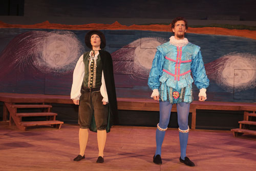 Elena Wright and Dean Linnard in Marin Shakespeare Company's Twelfth Night. Photo copyright Lori A. Cheung.