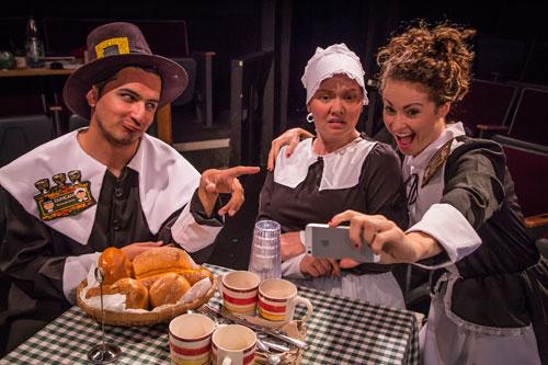 Salim Razawi, Gretchen Salter, and Kate Metroka in The Book of Liz at Altarena Playhouse. Photo by Jim Norrena.