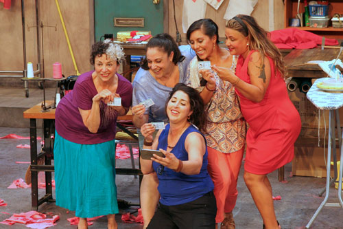 Annette Oliveira, Elena Ruggiero, Janelle Aguirre, Emily Alvarado and Leticia Duarte in Real Women Have Curves. Photo by Terry Sullivan.