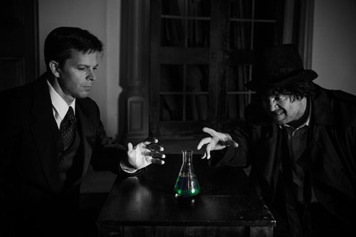 James Leonard Koponen and C. Conrad Cady in Broadway West Theatre Company's Dr. Jekyll and Mr. Hyde. Photo by Christian Pizzirani.