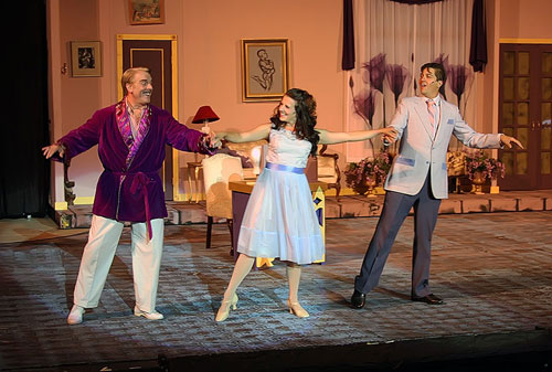 Chris Vettel, Harmony Livingston, and Eric Carlson in Woodminster's La Cage aux Folles. Photo by Kathy Kahn.