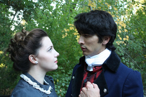 Brittany Law and David Crane in Pride and Prejudice — The Musical. Photo by Dudley Mendenhall.
