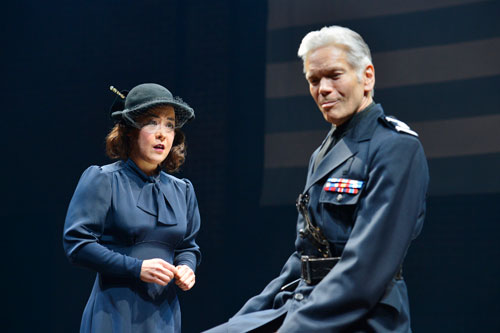 Anna Ishida and Charles Shaw Robinson in the world premiere of It Can't Happen Here at Berkeley Rep. Photo courtesy of Kevin Berne/Berkeley Repertory Theatre.