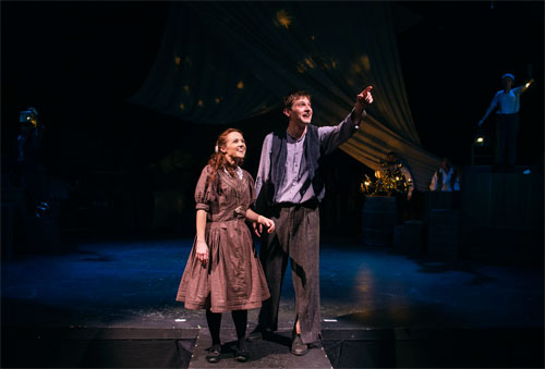 Kevin Singer and Brittney Monroe in Berkeley Playhouse's Peter and the Starcatcher. Photo by Ben Krantz Studio.