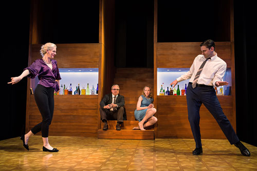 Beth Wilmurt, David Sinaiko, Megan Trout and Josh Schell in Shotgun Players' Who's Afraid of Virginia Woolf?. Photo by Jessica Palopoli.