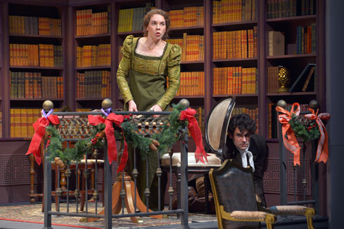 Martha Brigham and Adam Magill in Miss Bennet: Christmas at Pemberley. Photo by Kevin Berne.